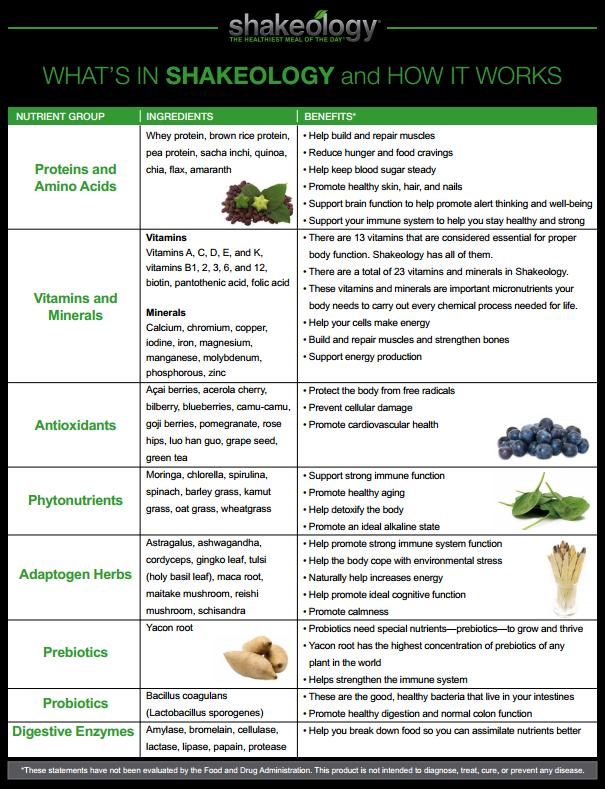 what's in shakeology
